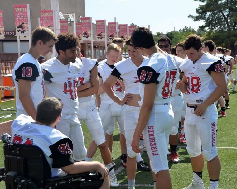 Chaparral High School football players in Scottsdale, Arizona.