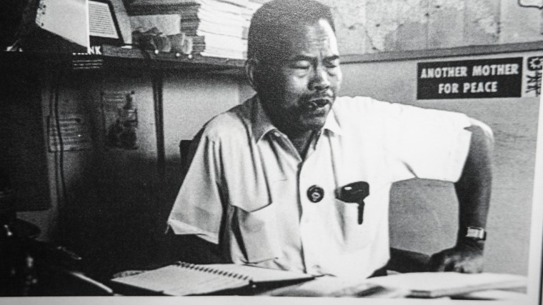 Union leader Larry Itliong in his office. After 50 years after the historic Delano Grape Strike which Itliong began, he is receiving recognition for the role he played in the farm labor movement.