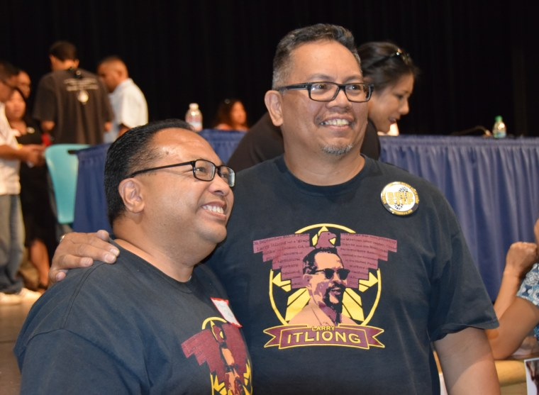 Dillon Delvo and Johnny Itliong at the 50th anniversary celebration of the Delano Grape Strike. Both were sons of AWOC union organizers. Itliong's dad Larry initiated the strike on Sept. 8, and invited Chavez' group to join on Sept. 16.