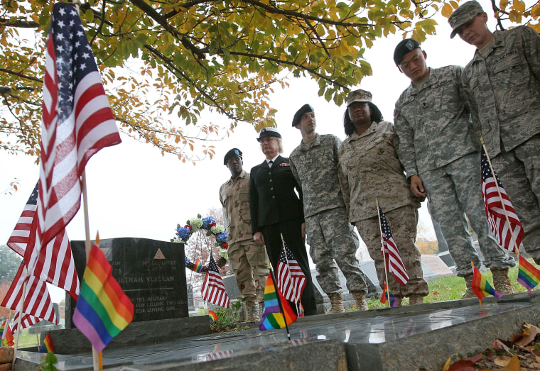 Image: Former gay members of the U.S. Military participate in a vigil