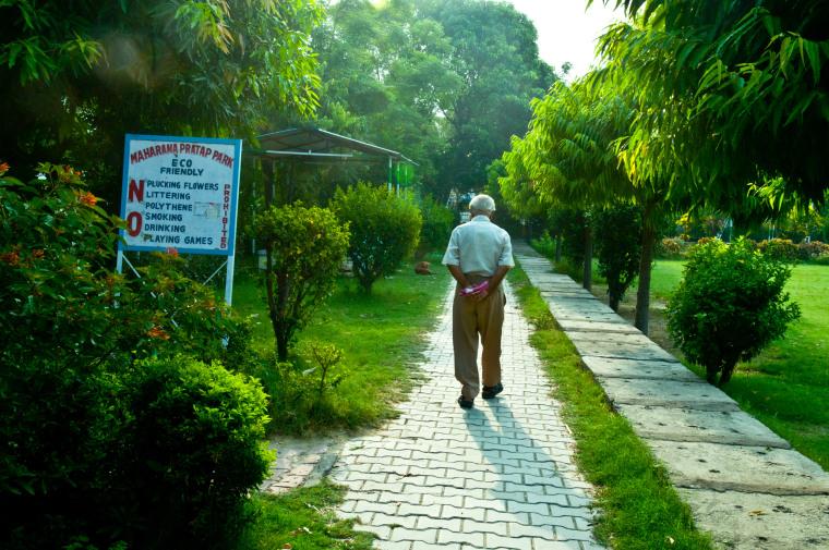 Image: Retired senior citizen doing morning walk
