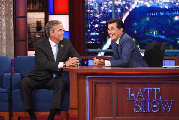 Image: Stephen Colbert (R) and Jeb Bush