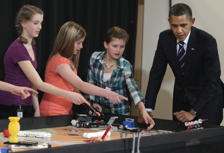 IMAGE: President Barack Obama with Intel Science Talent Search finalists in 2011