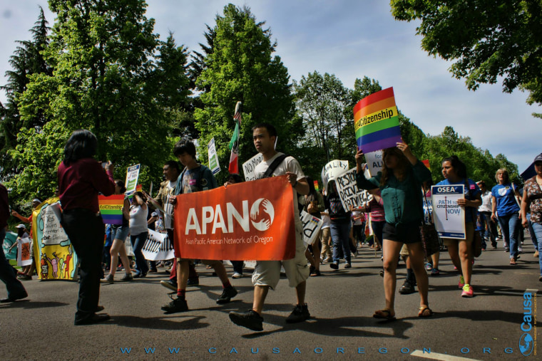 APANO participating at Causa's May Day march for immigrant rights at the Capitol in Salem.