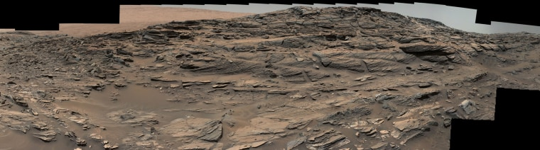 Large-scale crossbedding in the sandstone of this ridge on a lower slope of Mars' Mount Sharp is common in petrified sand dunes.