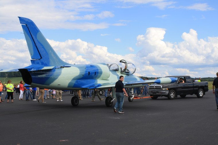 The jet, identified as an Aero L-39, seen before the crash at a Tennessee airshow Saturday.