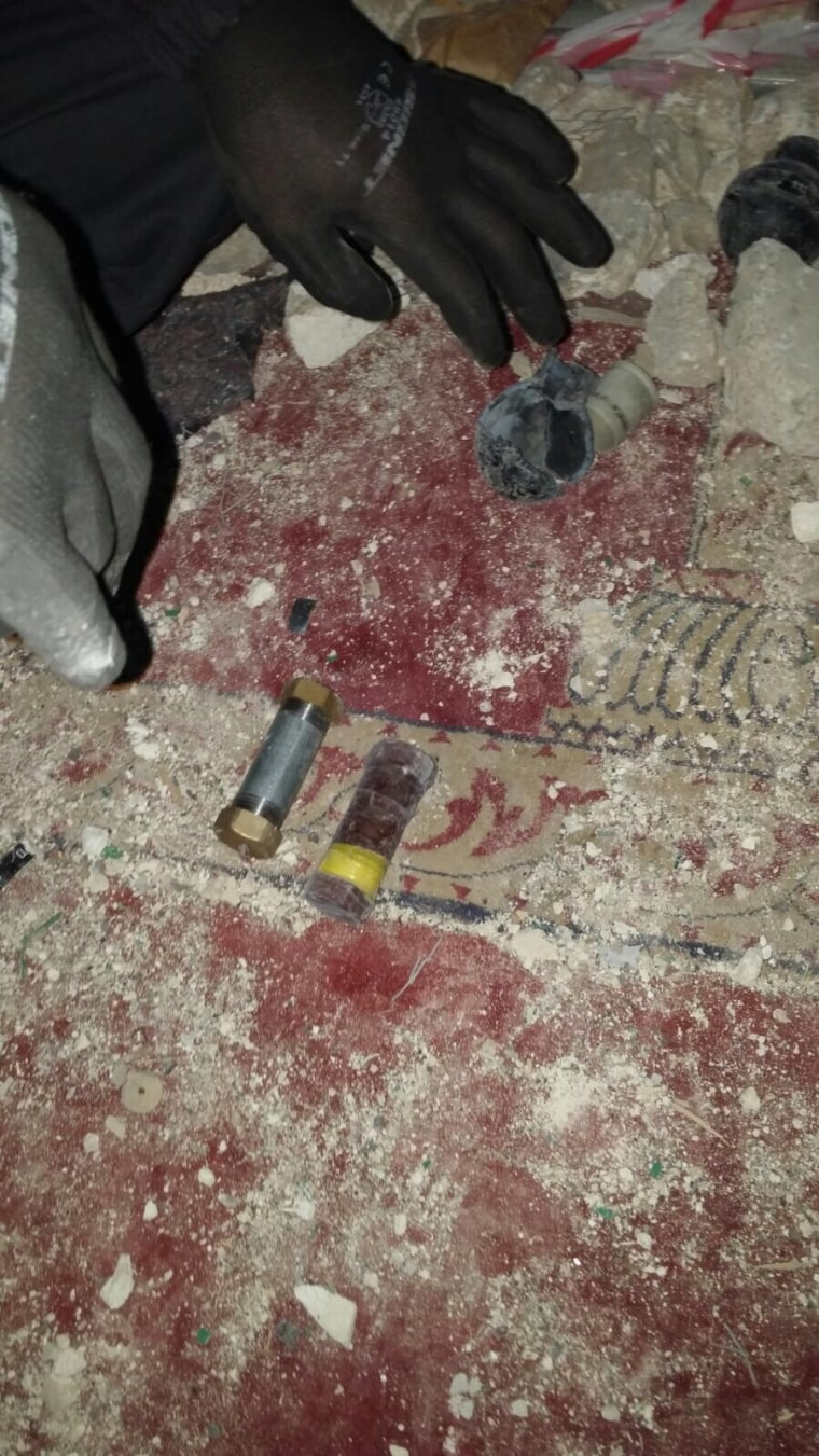 Officials released this photo of what are purported to be pipe bombs found at the al-Aqsa mosque in Jerusalem.