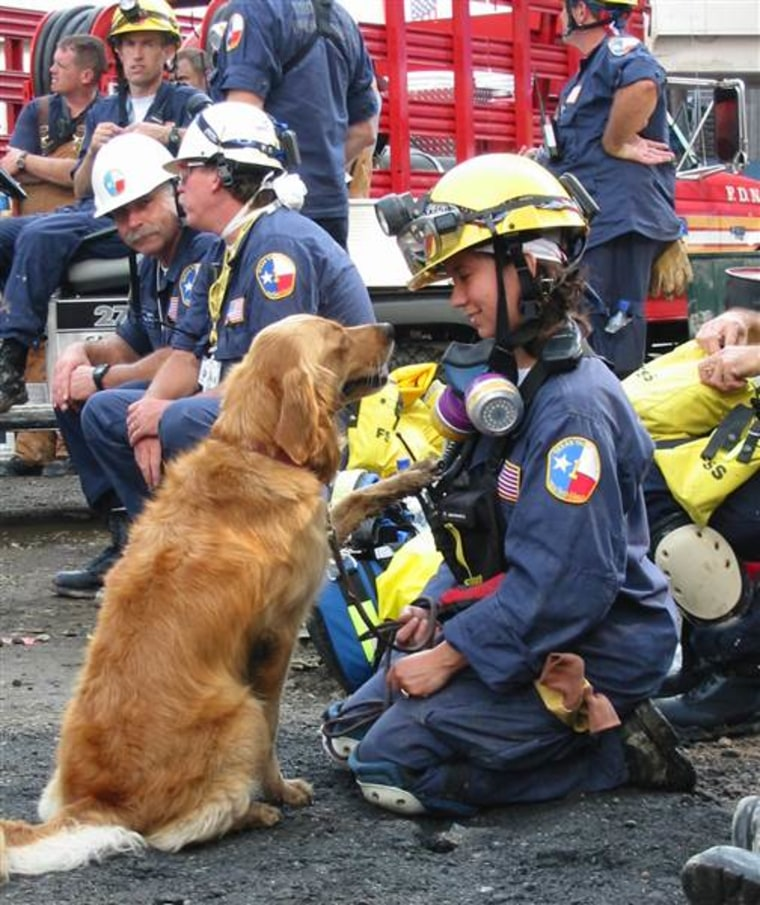 Denise Corliss is pictured with her search dog Bretagne at Ground Zero in New York City in September 2001.