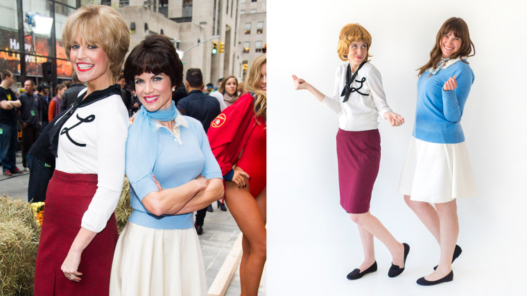 laverne and shirley halloween costumes savannah guthrie and natalie morales laverne and shirley costume