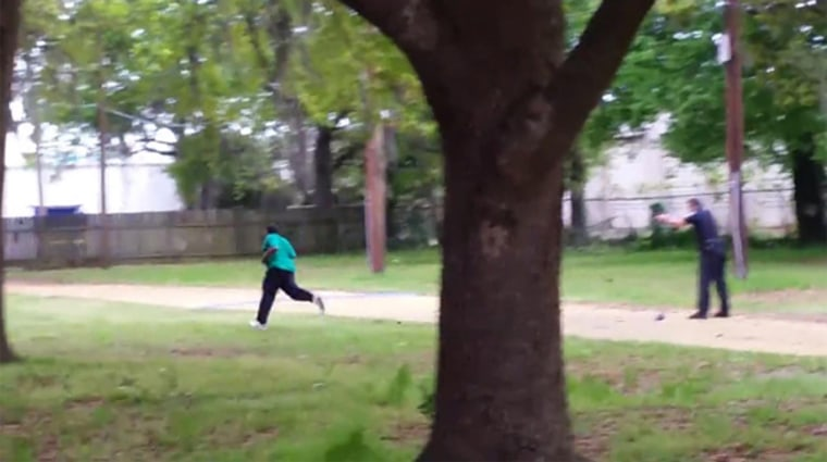 Walter Scott runs from North Charleston police officer Michael Thomas Slager before he was shot in a video taken by an anonymous bystander.