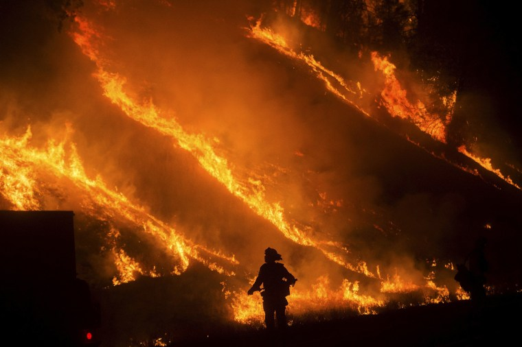 Image: Flames from a backfire on Highway 29 rise above a firefighter battling the Valley Fire in Lower Lake