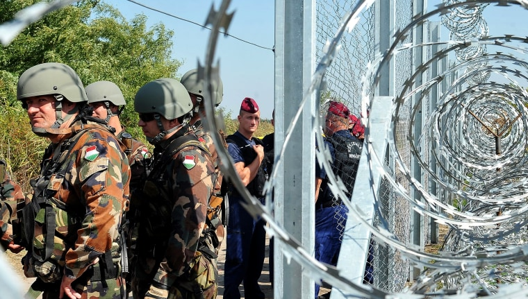 Image: Razor-wire fence at Serbia-Hungary border