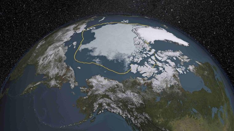 Image: NASA visual representation of satellite data of Arctic sea ice