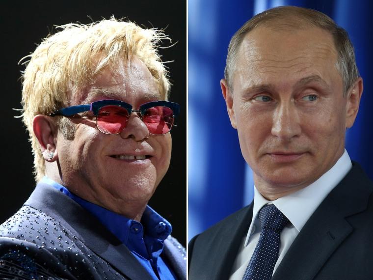 Image: Elton John and Vladimir Putin