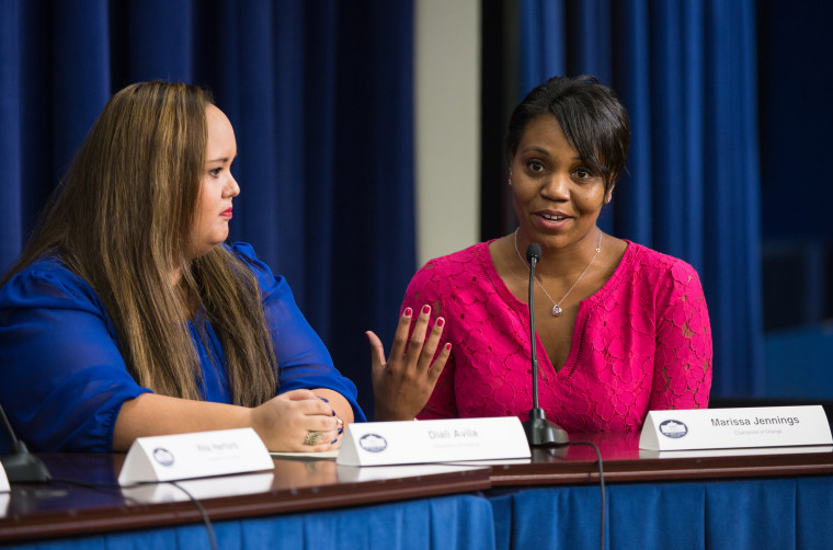"""Marissa Jennings speaks on a panel at the Young Women Empowering Communities: Champions of Change event on Tuesday, September 15, 2015 at the Eisenhower Executive Office Building in Washington, DC. The Champions of Change program was created by the White House to recognize 'individuals doing extraordinary things to empower and inspire members of their communities."""" Photo Credit: (NASA/Aubrey Gemignani)."""