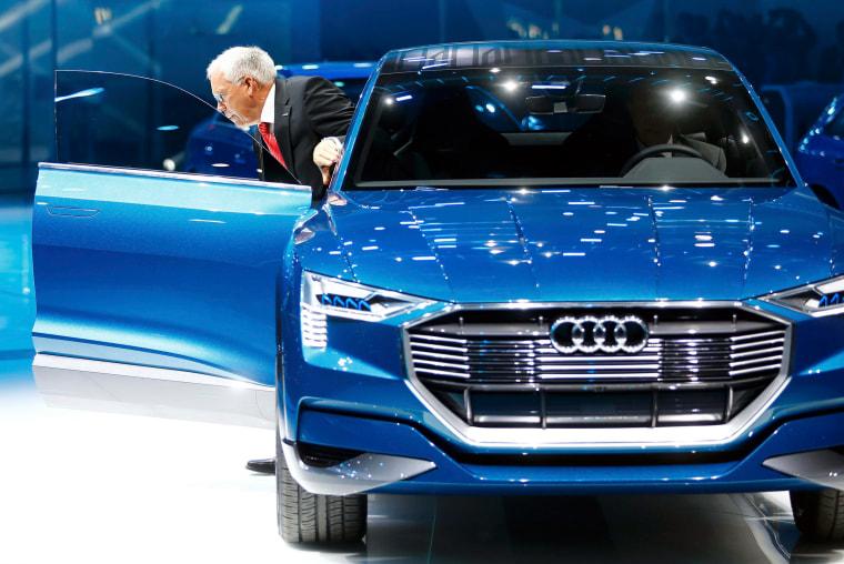 Image: Hackenberg, Board Member for Technical Development of Audi, presents the new Audi e-tron Quattro at the Frankfurt Motor Show (IAA) in Frankfurt.