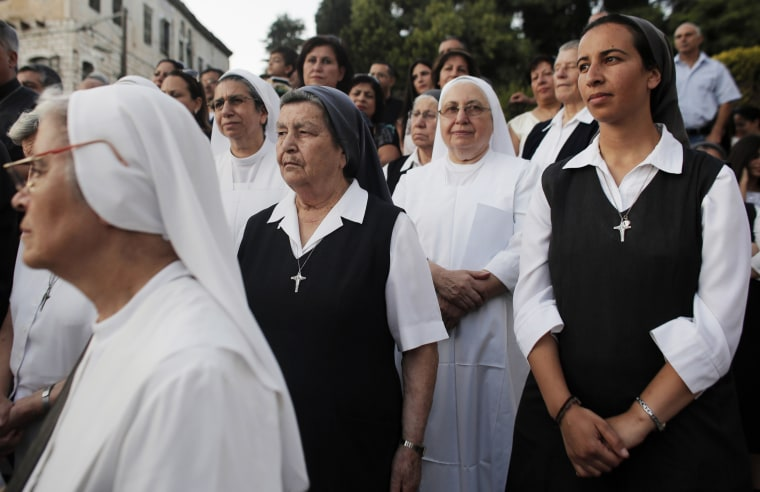 Israeli Christian nuns attend a rally against what they said was state discrimination in funding their schools