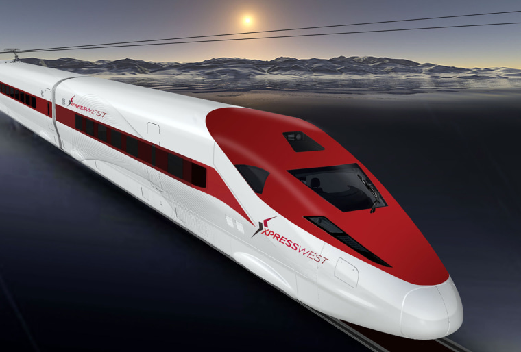 Image: Computer rendering of XpressWest high-speed rail train