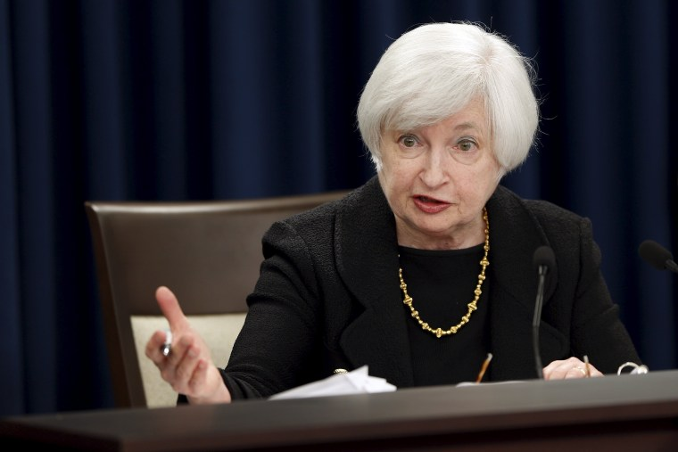 Image: Yellen holds a news conference following the Federal Open Market Committee meeting in Washington