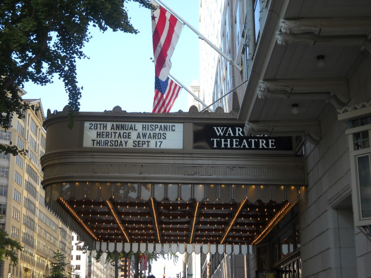 The marquee anounces the 28th Annual Hispanic Heritage Awards at the Warner Theater in Washington, D.C., on Sept. 17.