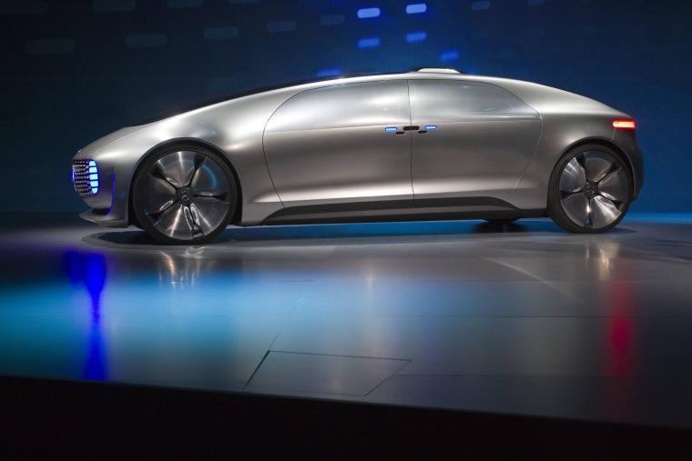 Image: Mercedes-Benz F015 Luxury in Motion autonomous concept car is pictured on-stage during the 2015 International Consumer Electronics Show in Las Vegas