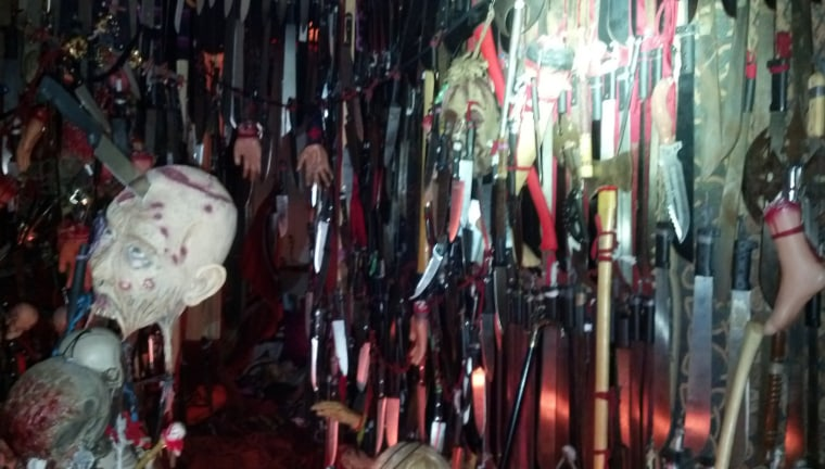 Bladed weapons hang in the home of Nicole Dykema in Brooksville, Florida.