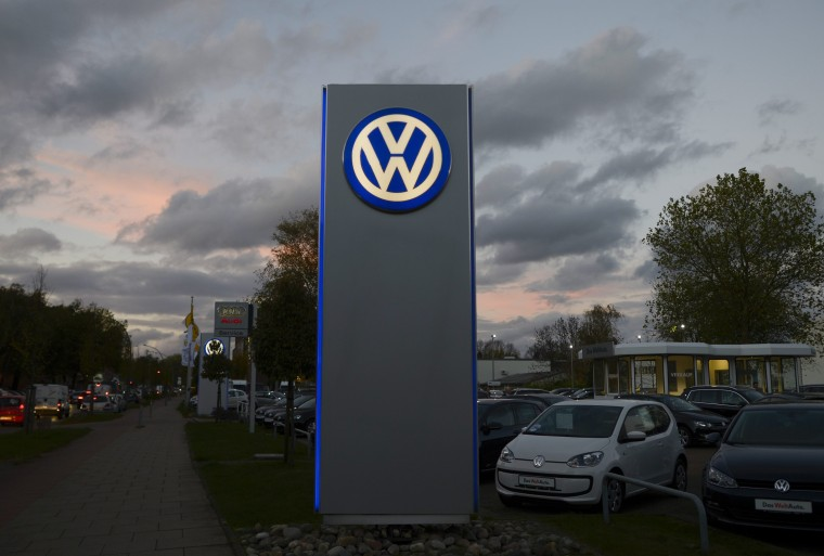 Image: Logo of German carmaker Volkswagen is seen at a VW dealership in Hamburg