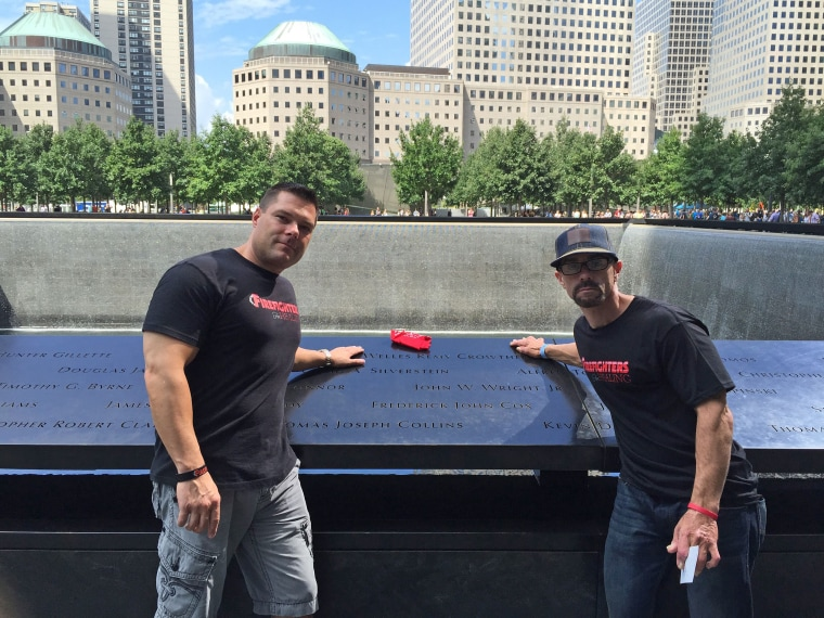 Jake LaFerriere (right) visited the memorial at Ground Zero with Firefighters For Healing Director Chris Dunker.