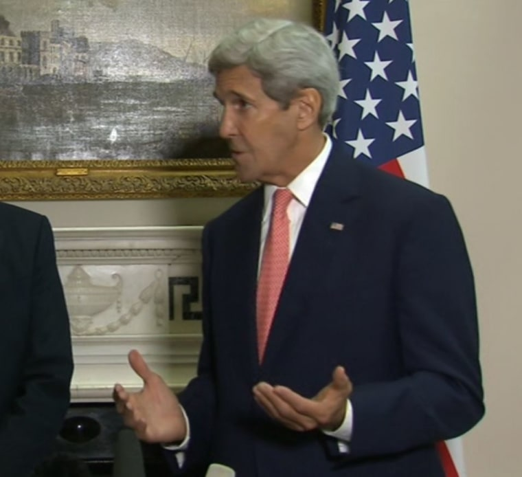 Image: John Kerry spoke to reporters after meeting his British counterpart in London on Saturday.