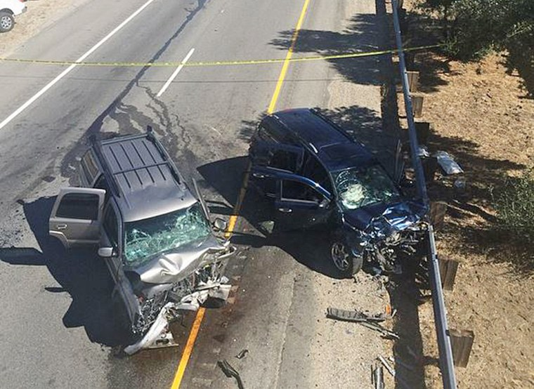 A vehicular chase ended in a head-on collision that closed Interstate 215 in northwest San Bernardino. Calif.