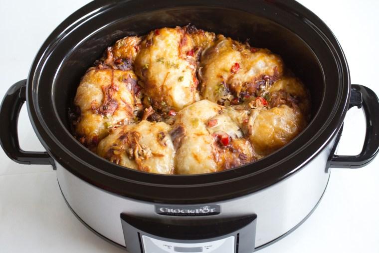 Slow-Cooker Pulled Pork Biscuit Casserole recipe