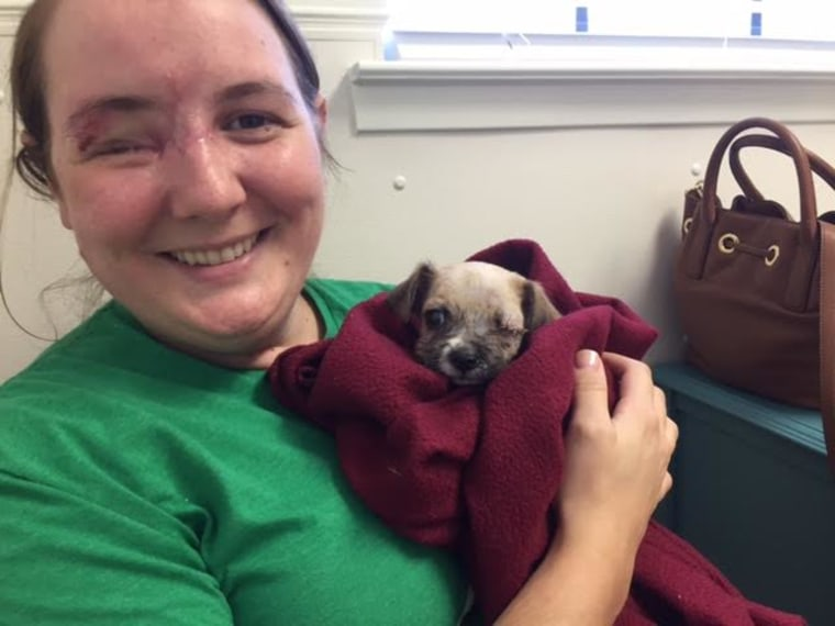 Maria Williamson lost an eye in a random gang shooting. She adopted a one-eyed puppy!
