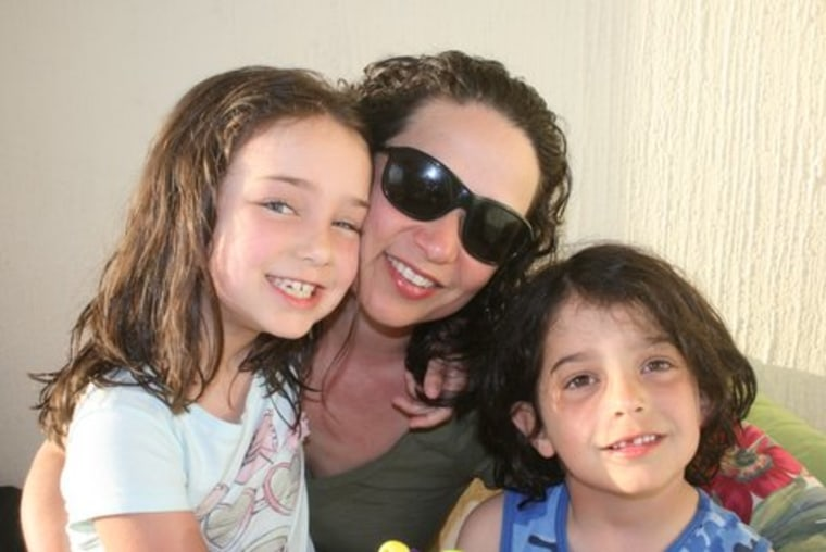Kim Brown Reiner with her kids. (One will be a future movie director and the other, a pop singer.)