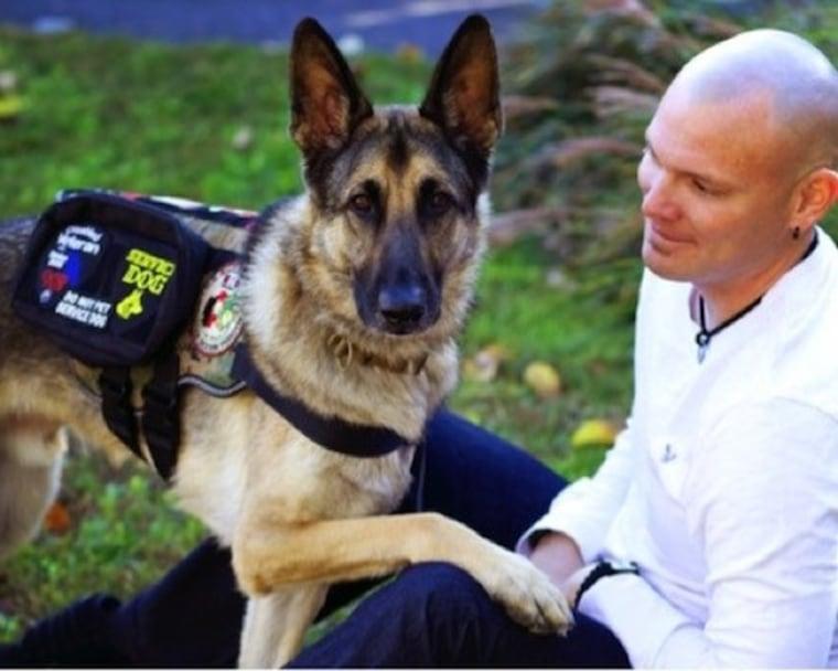Axel the dog with Jason Haag