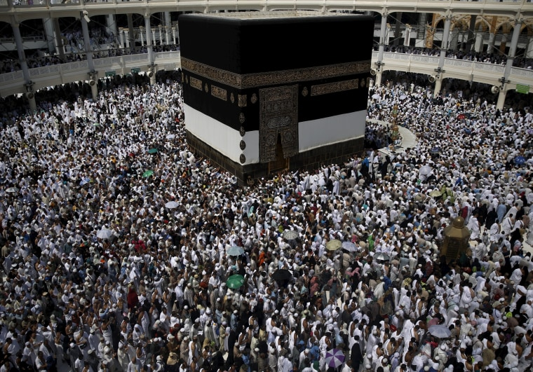 Image: Muslim pilgrims pray around the holy Kaaba at the Grand Mosque ahead of the annual haj pilgrimage in Mecca