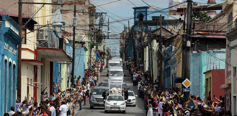 Image: Pope Francis rides through Santiago de Cuba