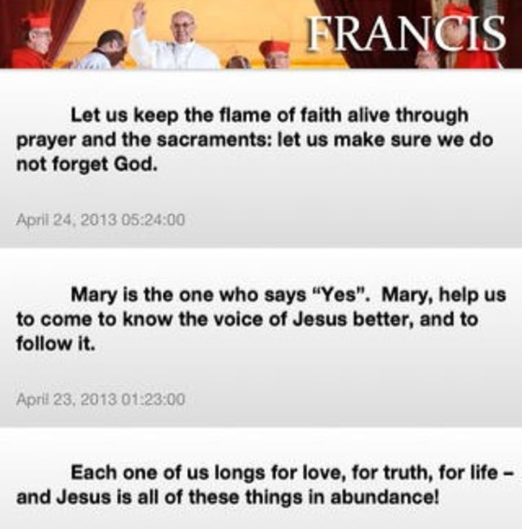 Image: Messages from the Pope app