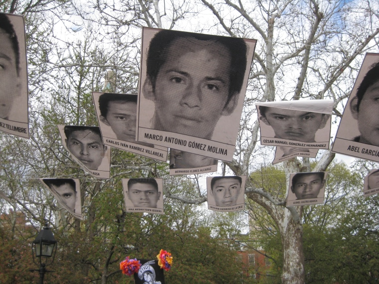 Posters of missing students in New York City's Washington Square Park during a rally in April 2015 to call attention to missing Ayotzinapa, Mexico students.