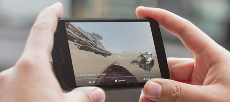 IMAGE: Smartphone displaying 360 video on Facebook