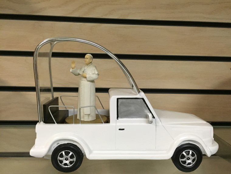 This is on sale at the gift shop of the Basilica of the national shrine of the immaculate conception, where the canonization mass was held today. It retails for 99. 95. 