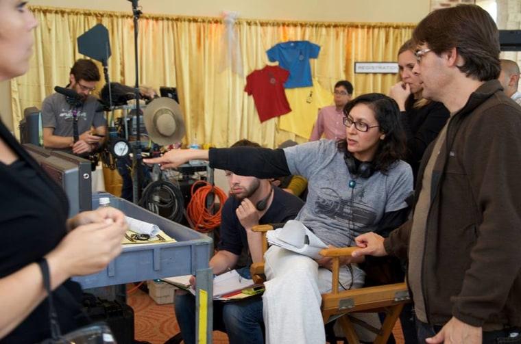 """Director Carmen Marron on set of """"Endgame."""""""