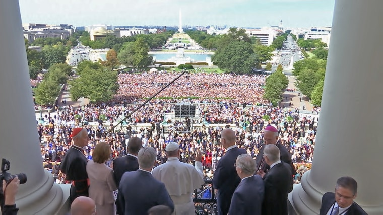 Pope Francis greets the crowd at the U.S. Capitol
