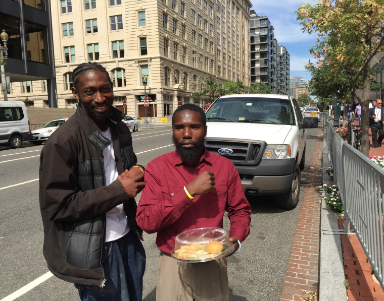 Image: Derrick Brooks and Scott Quarles saw the pope at a lunch for the homeless in Washington, D.C.