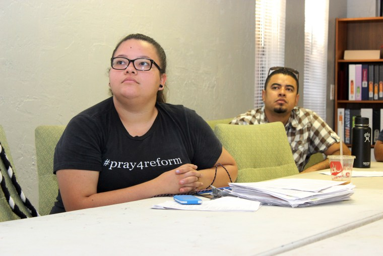 Nineteen-year-old Lizette Zamudio (left) was among several people who gathered in Phoenix on Thursday to watch Pope Francis address Congress.