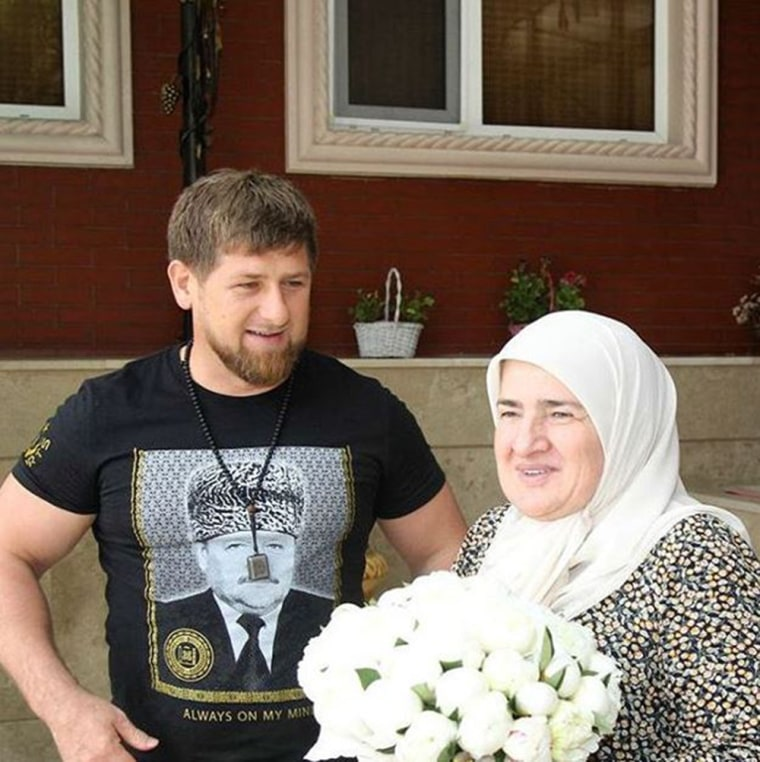 Chechen leader Ramzan Kadyrov poses with his mother in a picture he posted to Instagram.