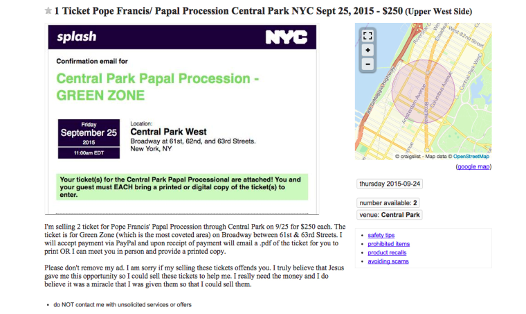"Ad on Craigslist offering to sell ""free"" tickets to see the pope"