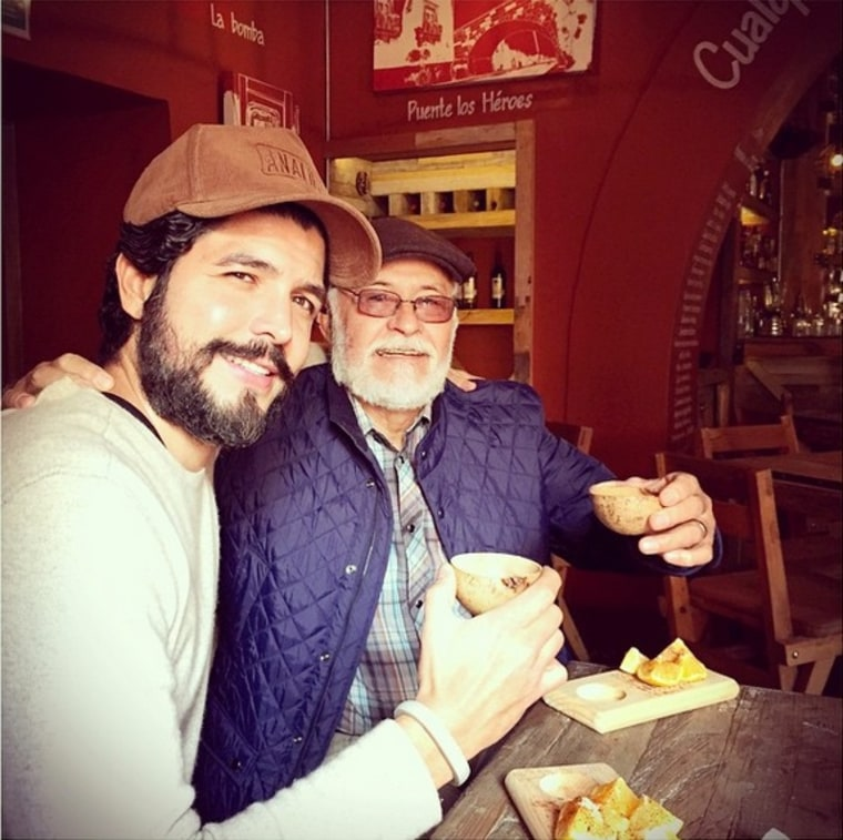 Film director Alejandro Gómez Monteverde, with his father Juan Manuel Gómez Fernández , who has been found dead along with his son after being kidnapped in Mexico.