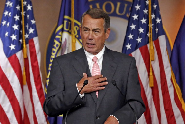Image: U.S. Speaker of the House John Boehner publicly announces his resignation as Speaker and from the U.S. Congress at a news conference at the U.S. Capitol in Washington