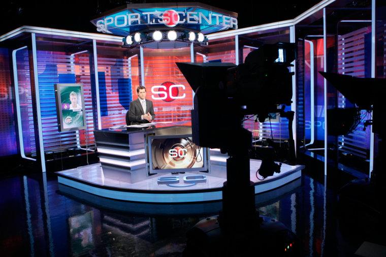 Ryan Phelan rehearses on ESPN's SportsCenter