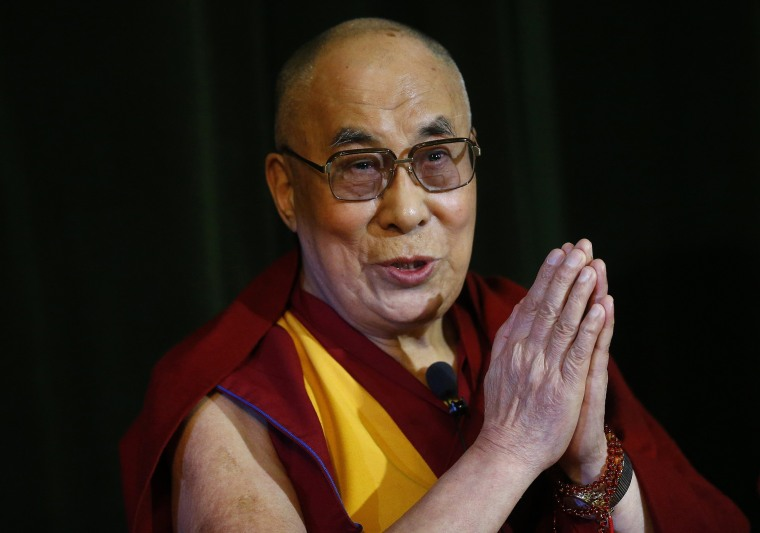 Image: File photo of Tibetan spiritual leader, the Dalai Lama speaking during a news conference at Magdalene College in Oxford